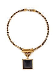 Alexander Mcqueen Tiger Eye Square Pendant Necklace Black Metallic