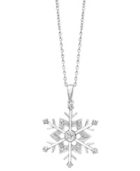 Macy's Diamond Snowflake Pendant Necklace In Sterling Silver 1 10 Ct. T.W.