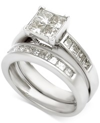 Macy's Diamond Princess Channel Set Bridal Set 2 Ct. T.W. In 14K White Gold