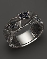 John Hardy Men's Classic Chain Silver Lava Band Ring With Black Sapphire Silver Multi