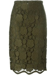Nao21 Floral Lace Pencil Skirt Green