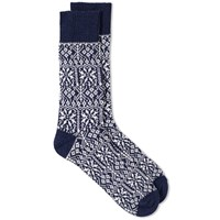 Universal Works Pattern Sock Blue