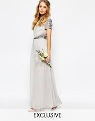 Maya Cap Sleeve Maxi Dress With Embellished Waist Detail Grey