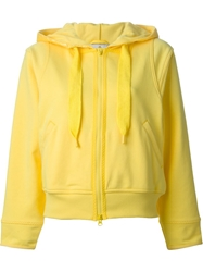 Adidas By Stella Mccartney Cropped Hooded Sweatshirt Yellow And Orange