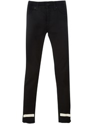 Off White Slim Fit Striped Panel Jeans Black