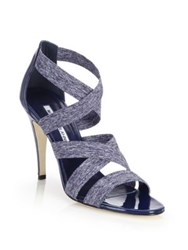 Manolo Blahnik Apeni Patent Leather And Textile Crisscross Sandals Navy