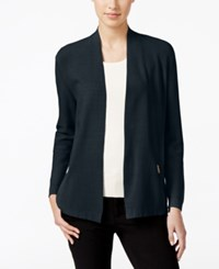 Charter Club Petite Open Front Zip Pocket Cardigan Only At Macy's Deepest Navy