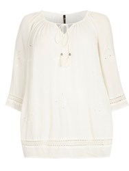 Evans Ivory Embroidered Gypsy Top White