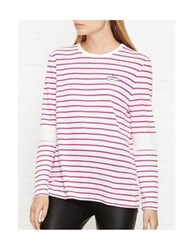Zoe Karssen Love Striped Long Sleeve Top White Red White Red