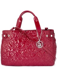Armani Jeans 'Hearts' Embossed Large Tote Red