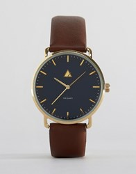 Asos Watch With Navy Face And Brown Strap Brown