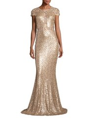 Badgley Mischka Sequin Lace Inset Gown Champagne