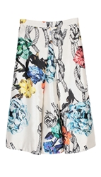 Tibi Tattoo Printed Silk Full Skirt
