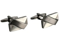 Stacy Adams Rectangle Cuff Link With Soft X Pattern Silver Gunmetal Cuff Links