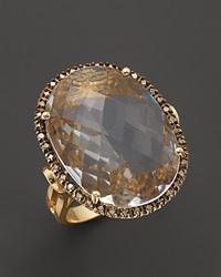 Bloomingdale's 14K Yellow Gold Large Oval Crystal Quartz And Champagne Diamond Ring .38 Ct. T.W.