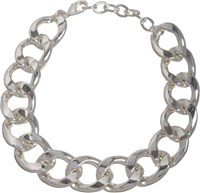 Kenneth Jay Lane Oversize Silver Curb Chain Necklace Silver