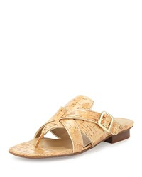 Neiman Marcus Braden Crisscross Leather Sandal Natural Platino