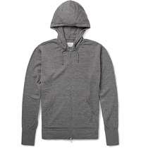 Officine Generale Zip Up Merino Wool Hoodie Gray