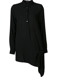 Ann Demeulemeester Button Down Asymmetric Blouse Black