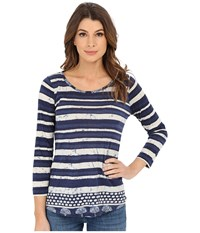 Lucky Brand Batik Stripe Tee Blue Multi Women's T Shirt