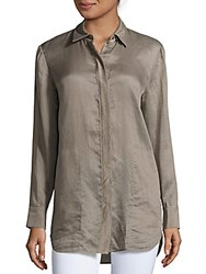 Lafayette 148 New York Long Sleeve Button Front Shirt Mica