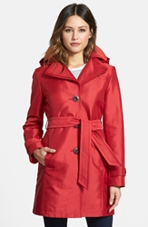 Hooded Single Breasted Sateen Trench Coat Regular And Petite Cherry Red