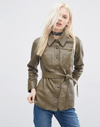 Asos Leather Jacket With Self Belt And Stab Stitch Detail Khaki Green