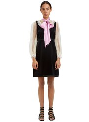 Gucci Lace Trimmed Pussybow Velvet Dress Black