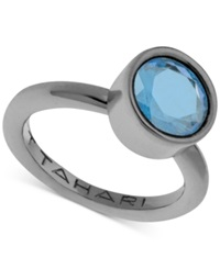 T Tahari Hematite Tone Mixed Jewels Round Stone Ring Blue
