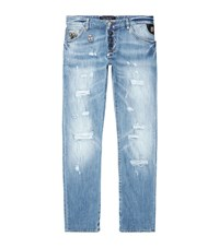 Philipp Plein Diggin Super Straight Cut Ripped Jeans Male Blue