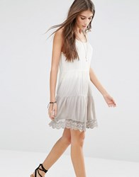 Pull And Bear Pullandbear Tie Dye Laced Dress Sand Stone