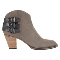 Mint Velvet Stella Stacked Heel Ankle Boots Taupe Leather Black Nubuck