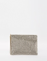 Reiss Cindy Beaded Occasionwear Clutch Silver