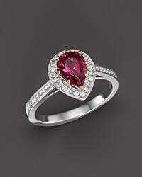 Bloomingdale's Rubellite And Diamond Pear Shape Ring In 14K White Gold