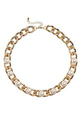 Women's Bp. Curb Chain And Pearly Bead Necklace
