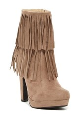 Bucco Sopazino Faux Fur Lined Fringed Bootie Brown