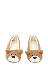 Forever 21 Bear House Slippers Taupe