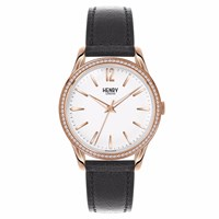 Henry London 39Mm Unisex Richmond Watch With Stone Set Bezel Black White Rose Gold