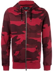 Hydrogen Camouflage Print Zipped Hoodie Red