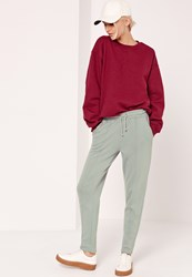 Missguided Stitch Front Joggers Green Grey