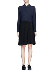 3.1 Phillip Lim Crepe Hopsack Combo Button Shirt Dress Black