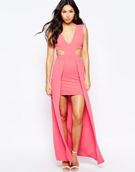 City Goddess High Lo Maxi Dress With Side Cut Outs Coral Pink