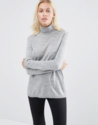 Selected Costa Long Sleeve Rollneck Jumper In Grey Lgm