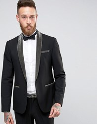 Asos Skinny Suit Jacket With Gold Contrast Lapel Gold