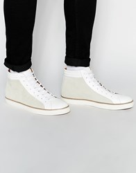 Asos Mid Top Trainers In White Leather White