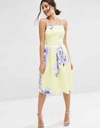 Asos Large Floral Printed Pinny Midi Dress Yellow Print