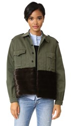 Harvey Faircloth Military Jacket With Faux Fur Trim Olive