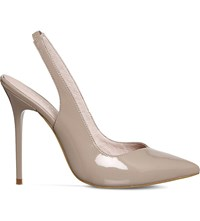 Office Amplify Leather Slingback Heeled Courts Nude Patent