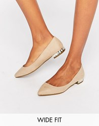 New Look Wide Fit Gem Heel Pointed Shoe Biscuit Stone