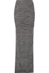 Alice Olivia Octavia Ruched Stretch Wool Maxi Skirt Gray